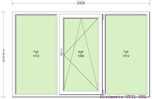 Termopan 240 / 150 cm - 1 deschidere Dubla - central