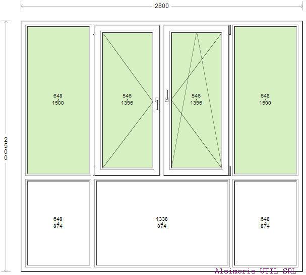 Inchidere Balcon 280 / 250 cm - 2 deschideri - 1 simpla - 1 dubla