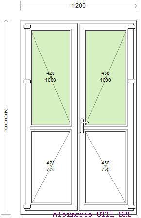 Ansamblu Usa Balcon 120 / 200 cm si paneluri inferioare