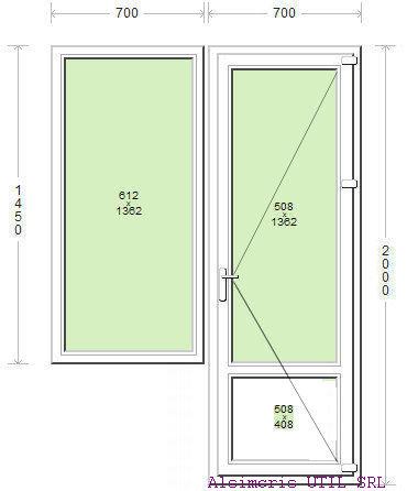 Usa balcon 70 / 200 cm si ochi fix 70 / 145 cm