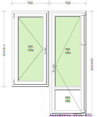 Usa balcon 70 / 200cm si 1 deschidere simpla 70 / 145 cm